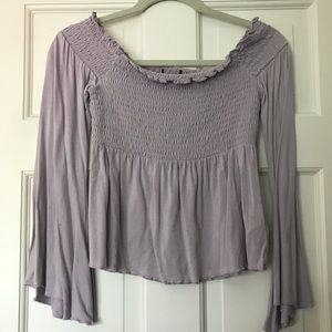 american eagle off the shoulder long sleeve top